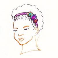 headband facon serre tete sur cheveux court, afro