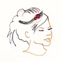 headband facon couronne sur cheveux attachés