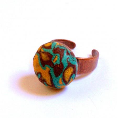 Bague « Plantain », création unique Espeleta, ethnique chic, pâte polymère, turquoise, ocre, chocolat.