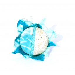 Bague « Puerto », création unique et originale  Espeleta, en pâte polymère et tissu batik turquoise