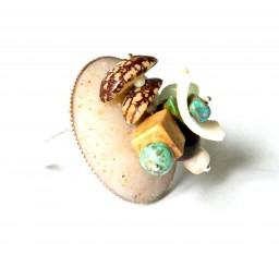 """Bague """"Caminho De Gotas"""", création unique Espeleta nature chic, en pâte polymère, tons turquoise, blanc et chocolat"""