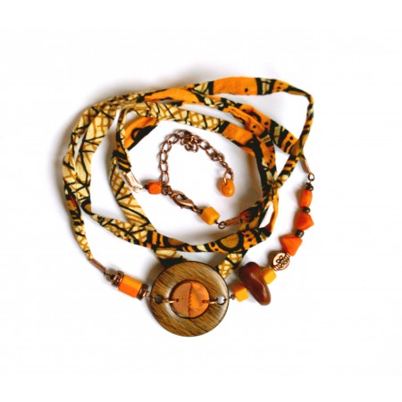 "Headband ""Curcurma"", pièce unique Espeleta, wax, ethnique chic, tons ocre jaune, marron."