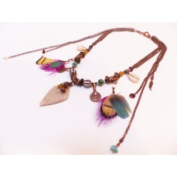 "Collier indian plume ""Kuzola"" sable"