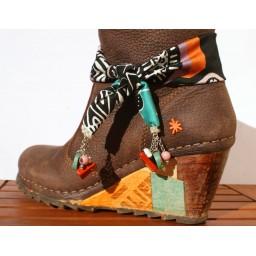 Bijoux de chaussures 2 en 1 « Fleur de Sel » création Espeleta, ethnique chic, pâte polymère, tissu, turquoise, cuivré