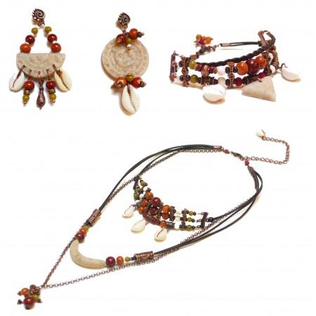 """Parure assortis""""Kuzola orange olive"""":bracelet, sautoir, boucles d'oreilles"""